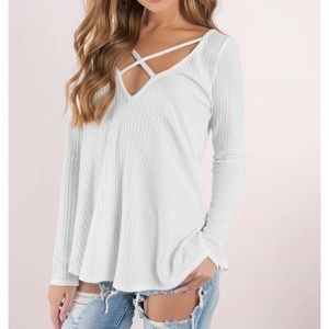 White Criss Cross Long Sleeve Sweater!